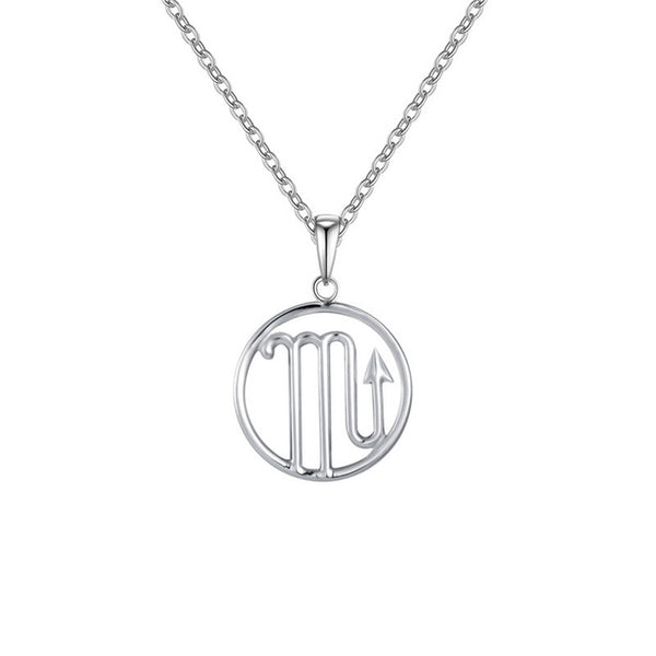 Scorpio Zodiac Sign Necklace Silver