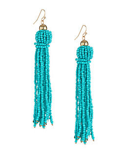 Blue Beaded Tassel Drop Earrings