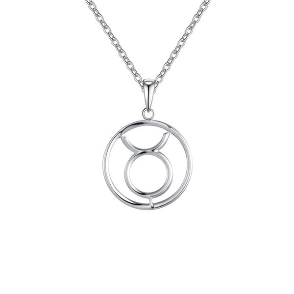 Taurus Zodiac Sign Necklace Silver