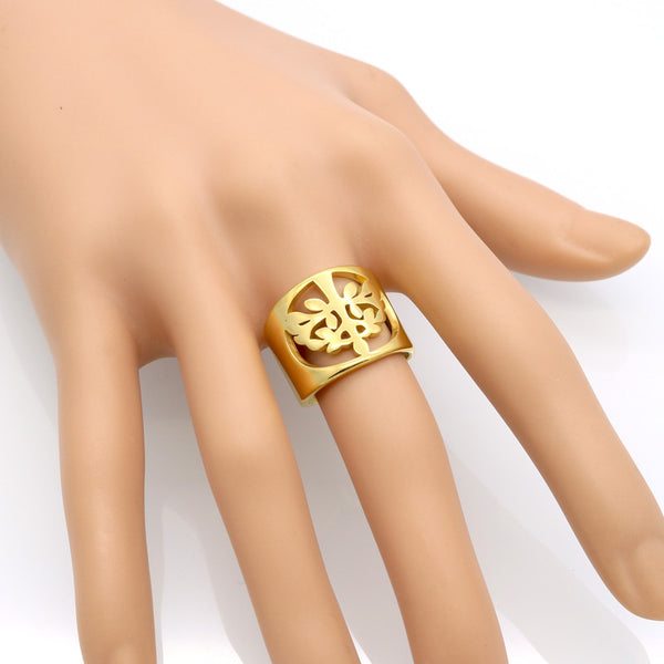 Tree Of Life Gold Cuff Ring