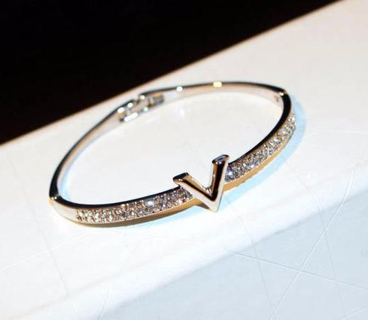 Silver Bangle Bracelet with Crystals