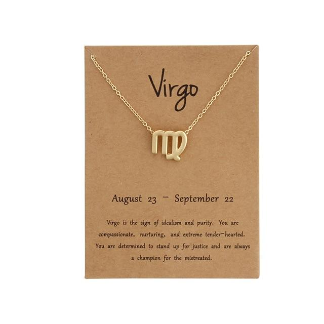 Virgo Zodiac Sign Necklace Gold