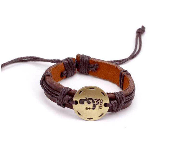 Virgo Leather Cuff Brown Bracelet