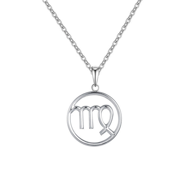 Virgo Zodiac Sign Necklace Silver