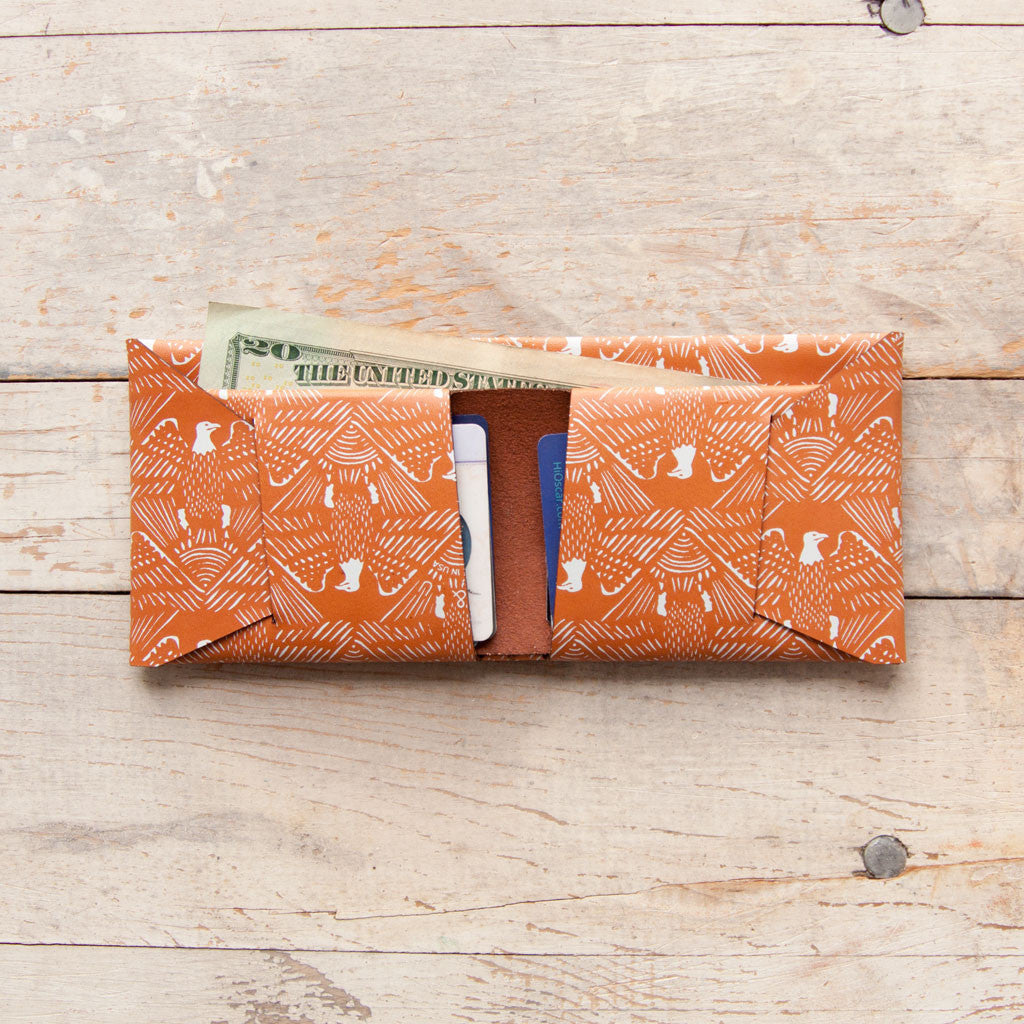 Eagle Bifold Wallet (Orange on Tan)