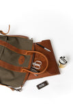 Tan and Green Helmet Bag
