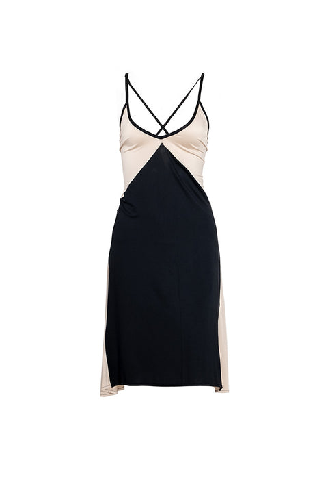 Sienna Dress Short - Black/Champagne