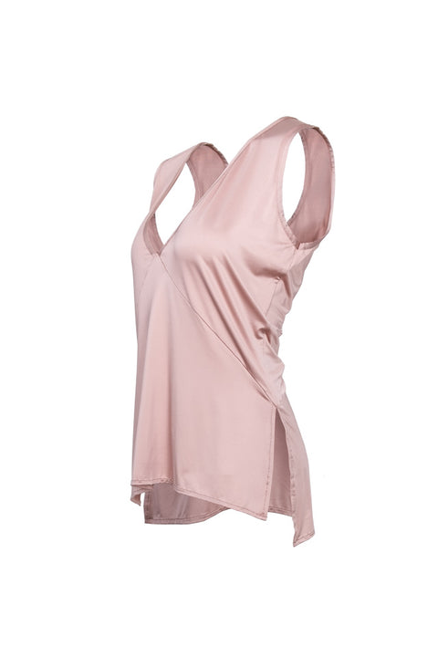 Sophia V-Neck Top - Dusty Pink