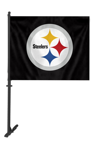 NFL PITTSBURGH STEELERS CAR FLAG (BLACK BINDING)