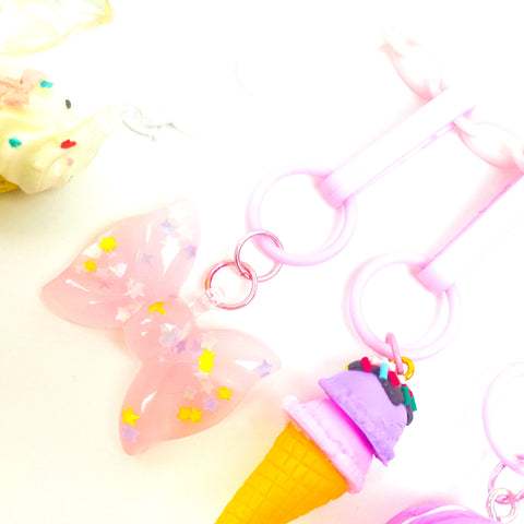 Confetti Bow Charm//Pink