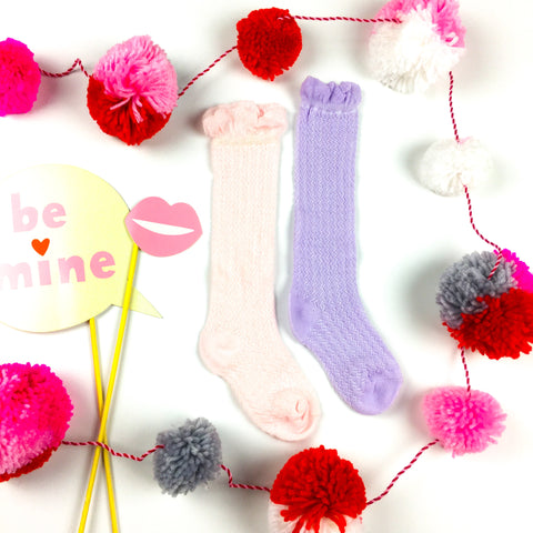 Cable Knit Ruffle Socks // PALE Pink or Lavender