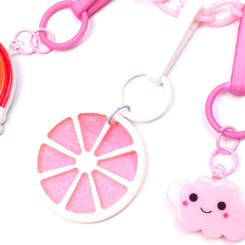 Sizzlin' Summer Fruit Slice Charm // Glittery Pink