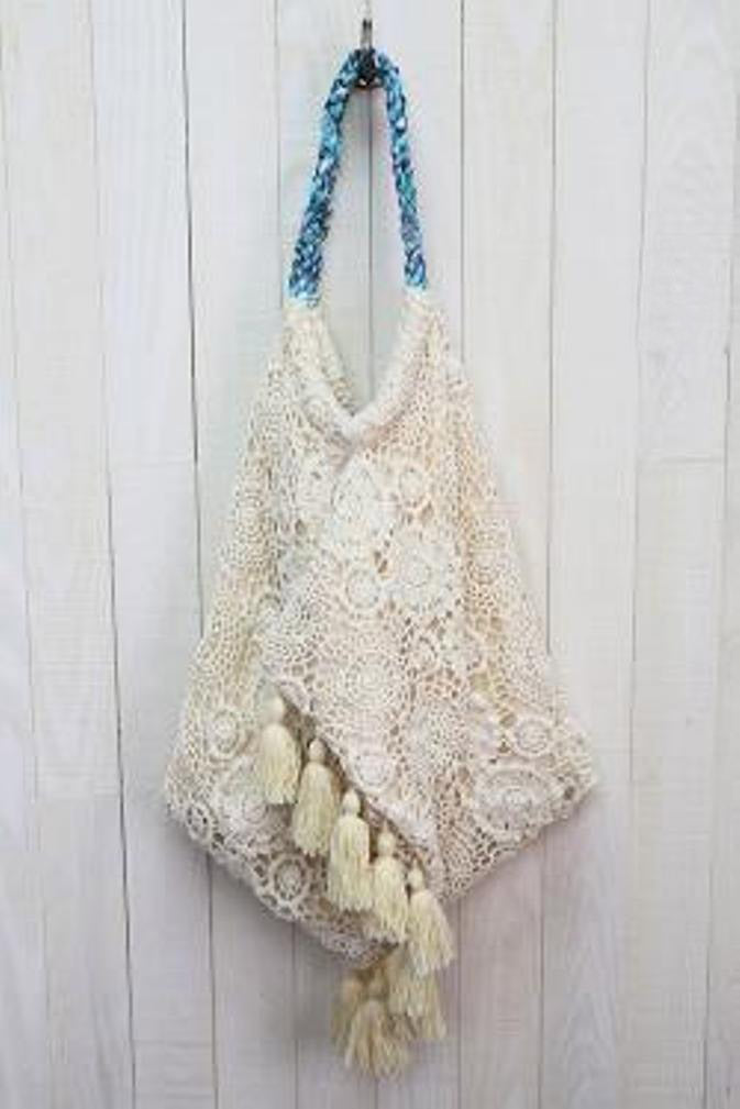 09650e938a Crochet Lace Hammock Bag with Tassels by Lovestitch