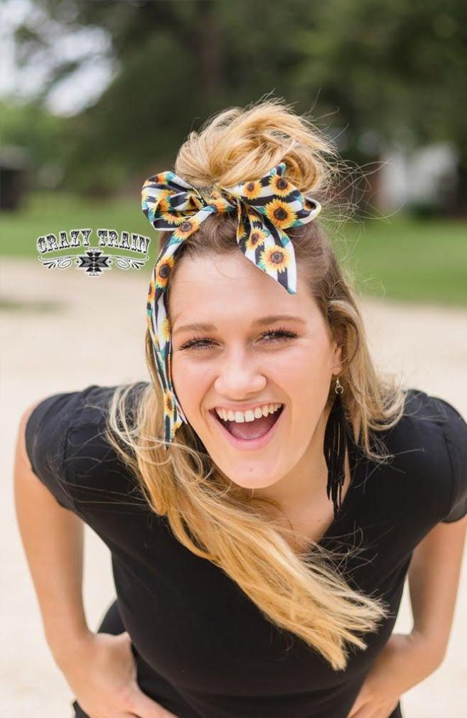Turquoise Sunflower Headscarf by Crazy Train