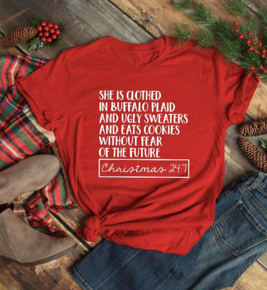 e2ac3977cd She Is Clothed in Buffalo Plaid Holiday Tee