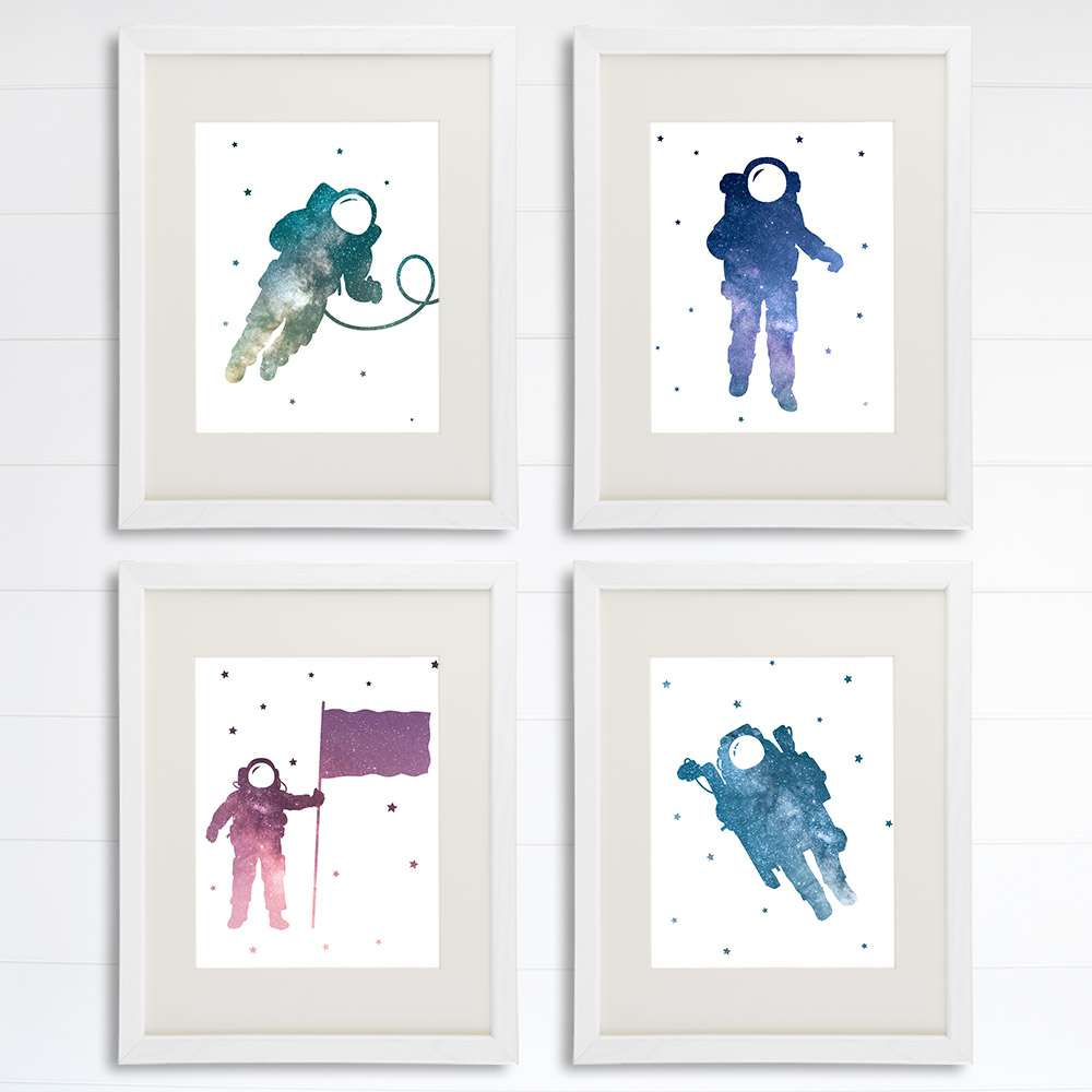 Astronauts Among Stars Art Prints (Set of 4) - 8x10s - Dream Big Printables