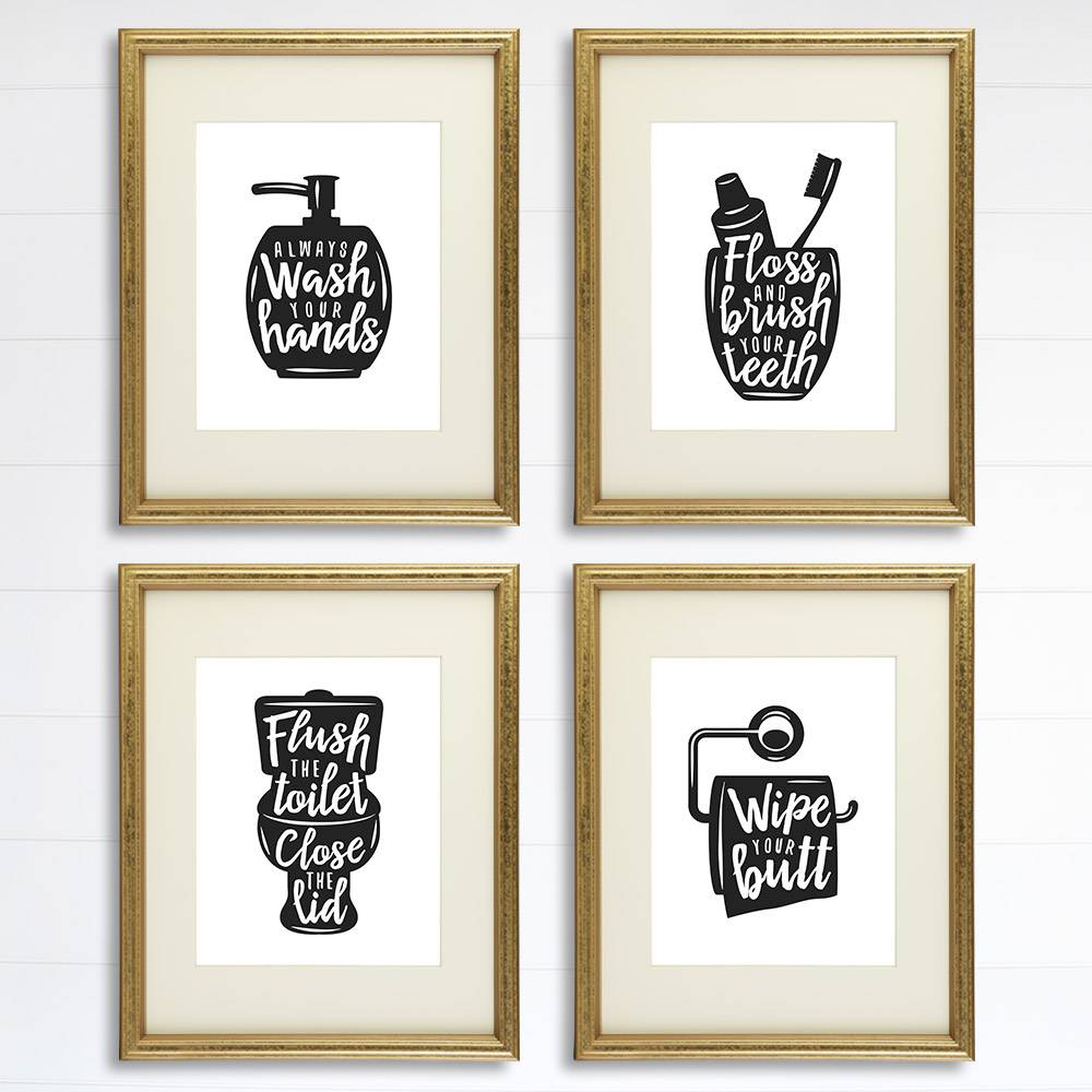 Funny Bathroom Signs Set Of 4 8x10s Bathroom Decor Wall Art Dream Big Printables