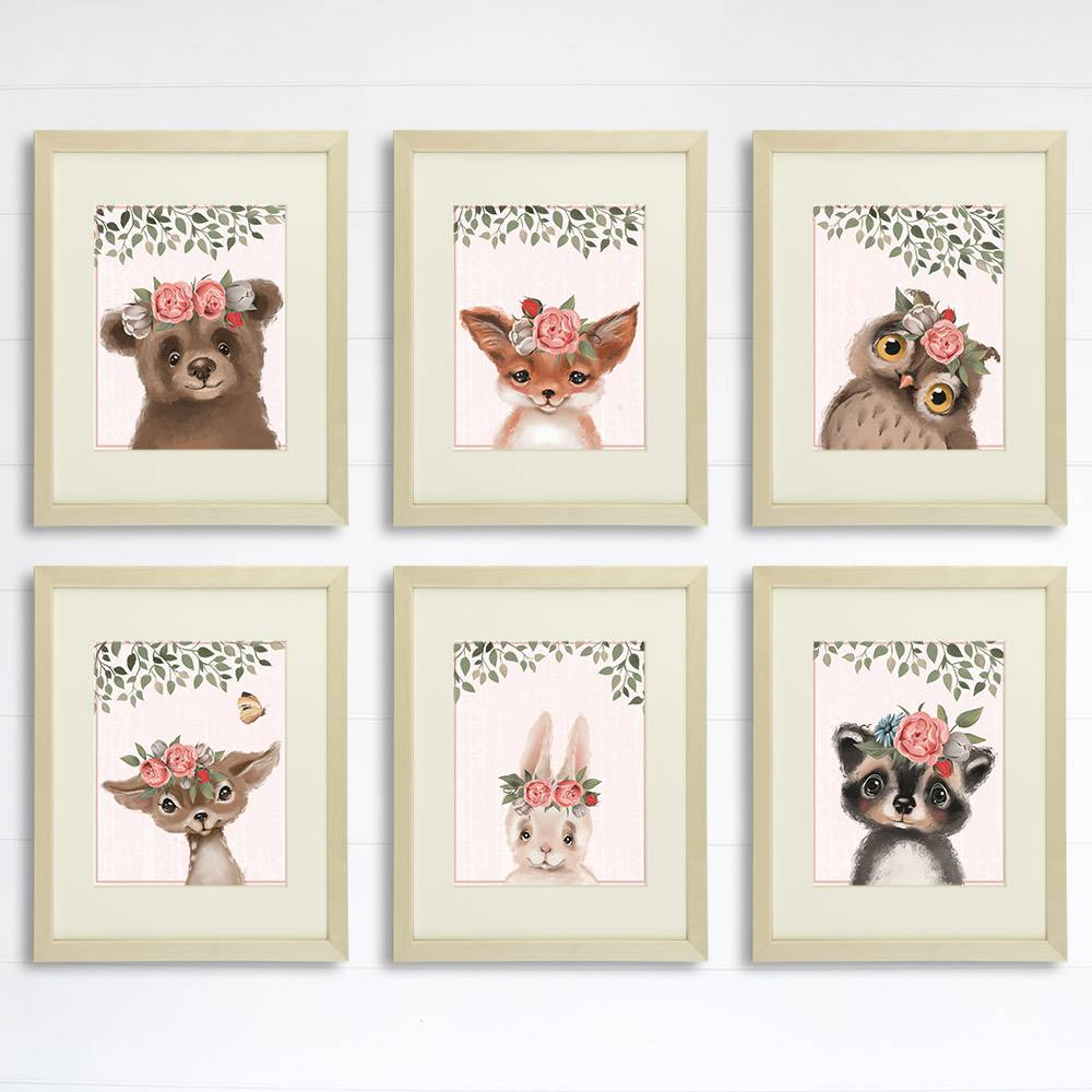 Woodland Animals Floral Art Prints (Set of 6) - 8x10s - Dream Big Printables