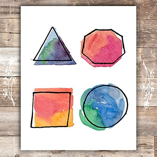 Watercolor Geometric Shapes - Unframed - 8x10 - Dream Big Printables