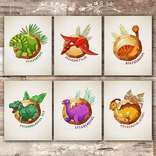 Dinosaurs In Circles Art Prints (Set of 6) - Unframed - 8x10s - Dream Big Printables