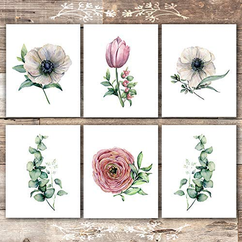 Botanical Prints Wall Art (Set of 6) - Unframed - 8x10s | Flowers and Eucalyptus - Dream Big Printables