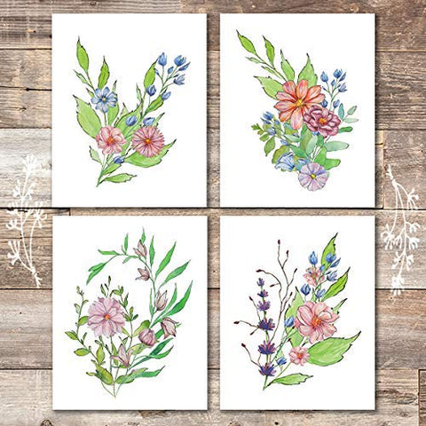 Floral Arrangements (Set of 4) - Unframed - 8x10s | Botanical Decor