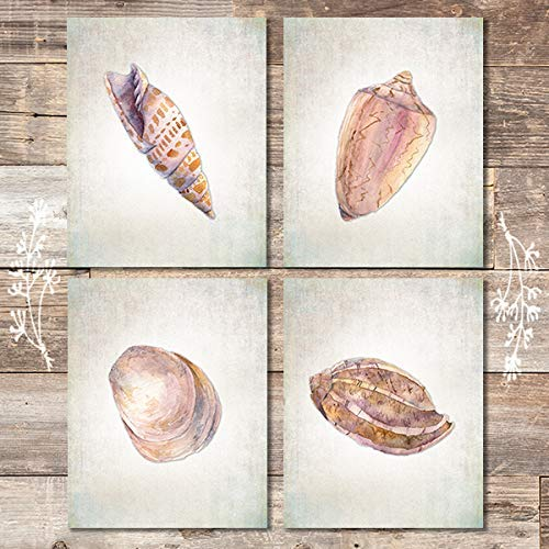 Seashell Decor Art Prints (Set of 4) - Unframed - 8x10s | Beach Wall Decor - Dream Big Printables