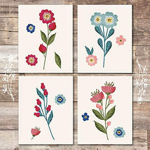 Vibrant Flowers Wall Art (Set of 4) - Unframed - 8x10s | Botanical Prints