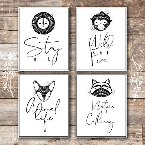 Nursery Animal Wall Art Prints (Set of 4) - Unframed - 8x10s - Dream Big Printables