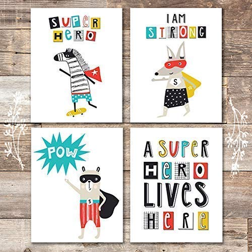 Super Hero Animals Art Prints (Set of 4) - Unframed - 8x10s | Kids Wall Decor - Dream Big Printables