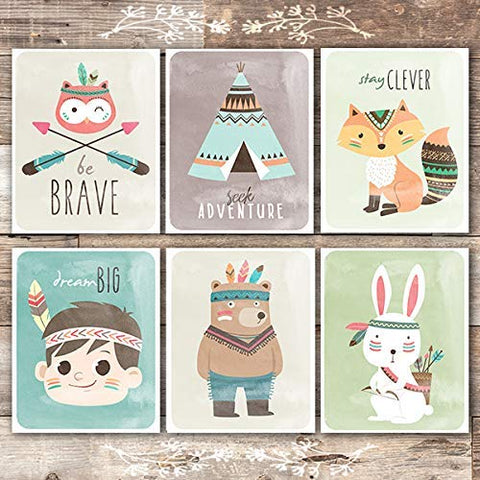 Woodland Animals Nursery Wall Art Prints (Set of 6) - Unframed - 8x10s | Tribal Aimals