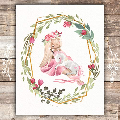 Girl With Unicorn Art Print- Unframed - 8x10 - Dream Big Printables