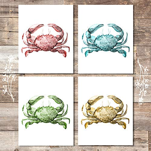 Beach Wall Decor Art Prints (Set of 4) - Unframed - 8x10s | Crabs - Dream Big Printables