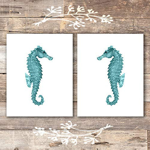 Seahorse Art Prints (Set of 2) - Unframed - 8x10s - Dream Big Printables
