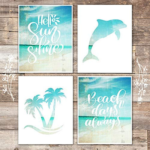 Beach Set Art Prints (Set of 4) - Unframed - 8x10s - Dream Big Printables