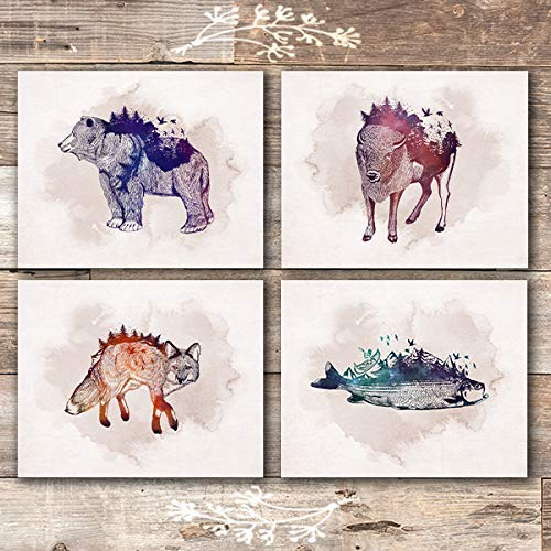 Wild Animal Nature Scene Art Prints (Set of 4) - Unframed - 8x10s - Dream Big Printables