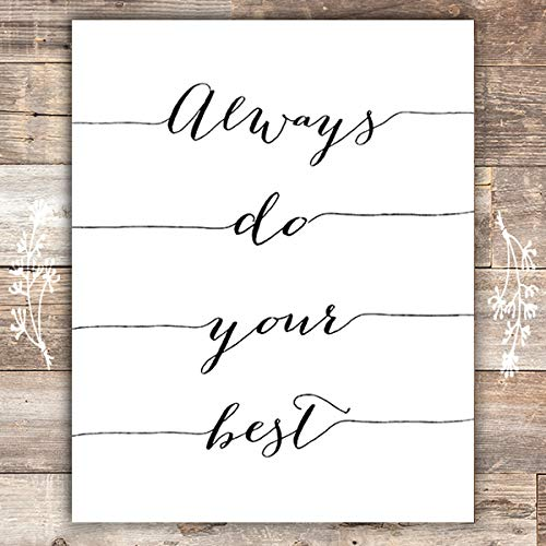 Always Do Your Best Calligraphy Art Print - 8x10 | Inspirational Quote - Dream Big Printables
