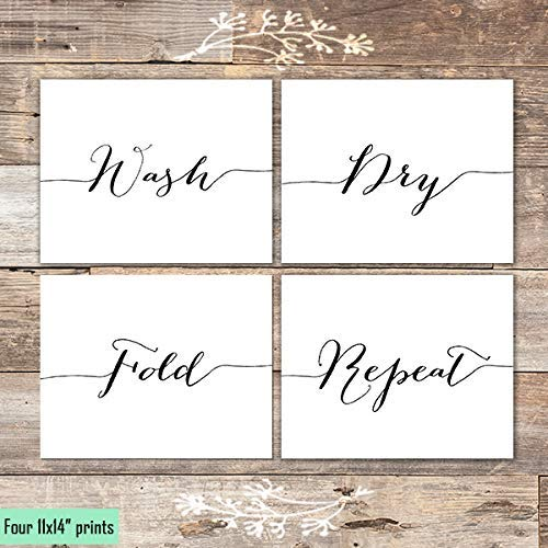 Wash Dry Fold Repeat Art Prints (Set of 4) - Unframed - 11x14s - Dream Big Printables