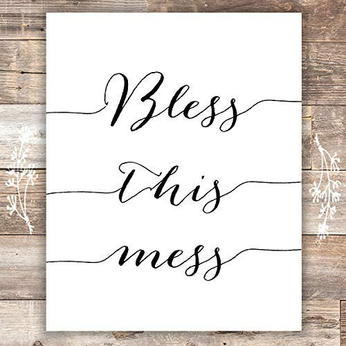 Bless this Mess Art Print - Unframed - 8x10 | Funny Home Decor - Dream Big Printables