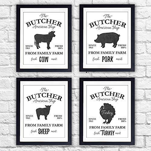 The Butcher Shop Farm Animals Art Prints (Set of 4) - Unframed - 8x10s - Dream Big Printables