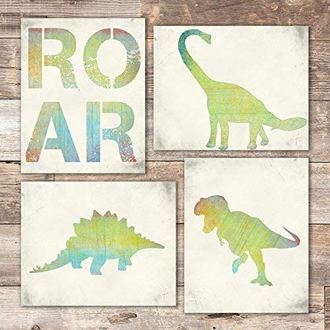 Dinosaur Bedroom Wall Art Prints (Set of 4) - Unframed - 8x10s