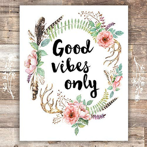 Good Vibes Only Floral Wreath Art Print - Unframed - 8x10