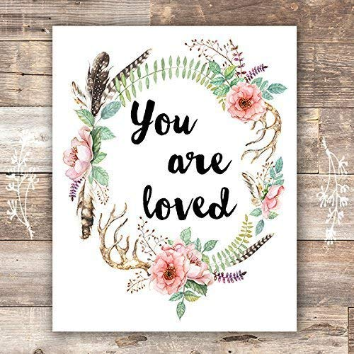 You Are Loved Floral Wreath Art Print - Unframed - 8x10 - Dream Big Printables