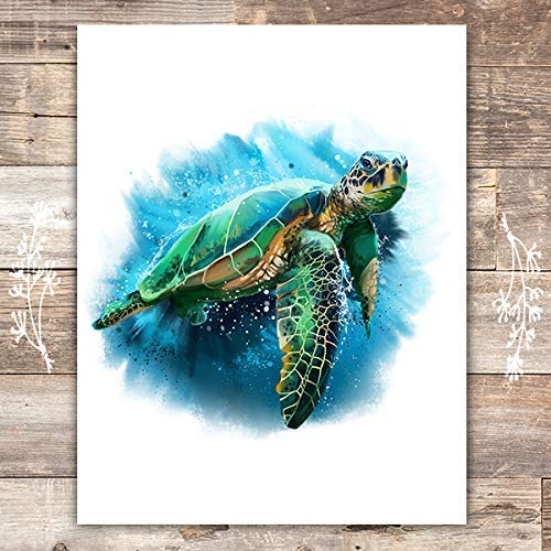 Sea Turtle Art Print - Unframed - 8x10 | Beach Wall Decor - Dream Big Printables