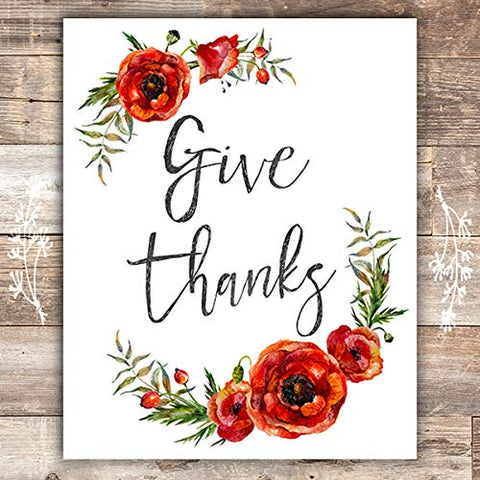 Give Thanks Floral Art Print - Unframed - 8x10