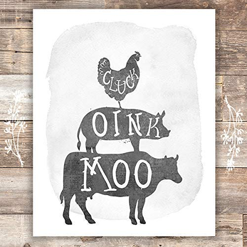 Rustic Farm Animals - Unframed - 8x10s | Cow, Pig, Chicken - Dream Big Printables