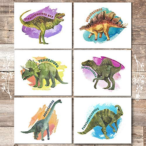 Dinosaur Wall Decor Art Prints (Set of 6) - Unframed - 8x10s - Dream Big Printables