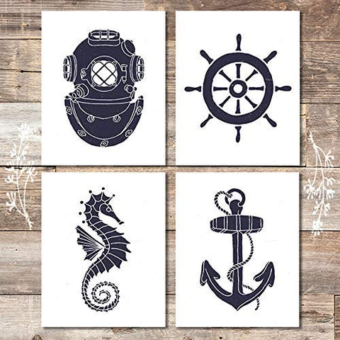 Vintage Nautical Art Prints (Set of 4) - Unframed - 8x10s - Dream Big Printables