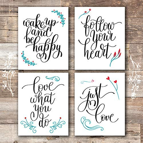 Inspirational Art Prints (Set of 4) - Unframed - 8x10s | Typography Wall Art - Dream Big Printables