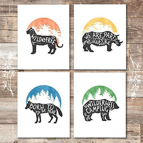 Wildlife Quotes Decor (Set of 4) - Unframed - 8x10s